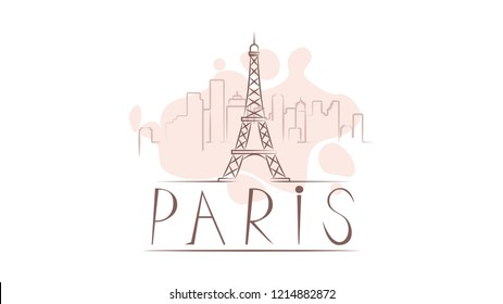 Lettering name of Paris. Flat colorful illustration. Template for travel, adventure, vacation. Concept for web banners and printed materials.