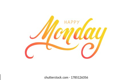 lettering on a white background day of the week, happy monday, card, poster, banner, yellow gradient