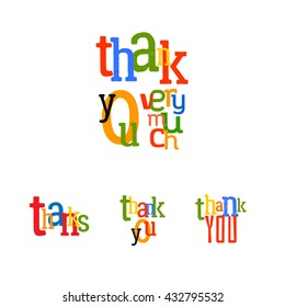 Lettering Thank you very much. Raster typography tag illustration. Thanks colorful set.