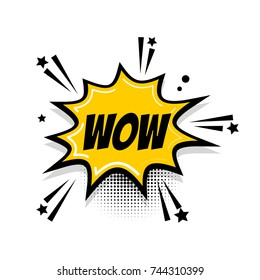 Lettering wow, boom. Comics book balloon. Bubble icon speech phrase. Cartoon exclusive font label tag expression. Comic text sound effects. Sounds illustration. Popart speed line