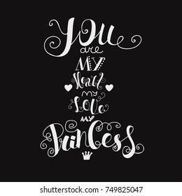 lettering you are my heart my love my princess calligraphic font