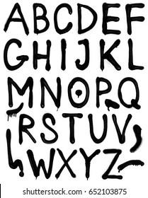 The letters of the alphabet. Font spray graffiti