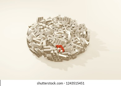 Letters in a circle isolated on white background 3d illustration