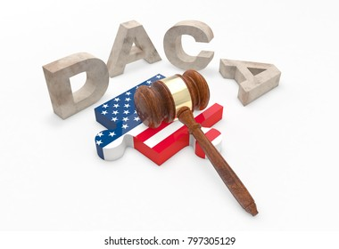 Letters D, A, C and A (DACA) surround puzzle with american flag pattern and a gavel. 3D Illustration.