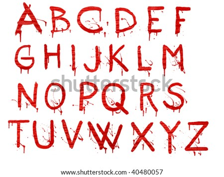 Letters dripping with blood on white background