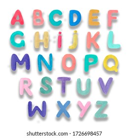 letters of the English alphabet alphabet print textile hand-drawn funny letters kids school learning