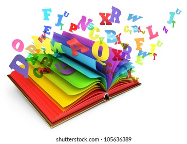 Letters flying out of an open book. Magic book. Fairy tale. White background. 3d render