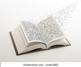 Letters flying out of an open book