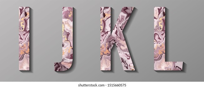 Letters I J K L with marble effect isolated on gray background. Colorful character of alphabet letter. Decoration element for logo icon, birthday party design.