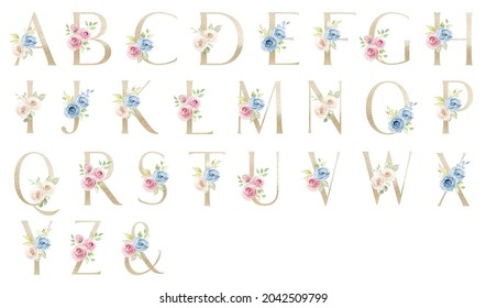 Letters set, gold floral alphabet with watercolor flowers roses and leaf. Monogram initials perfectly for wedding invitation, greeting card, logo, poster. Holiday decoration hand painting.