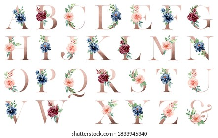 Letters set, pink floral alphabet with watercolor flowers and leaf. Monogram initials perfectly for wedding invitation, greeting card, logo, poster. Holiday decoration hand painting.