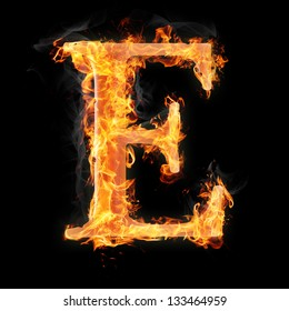 Letters and symbols in fire - Letter E.
