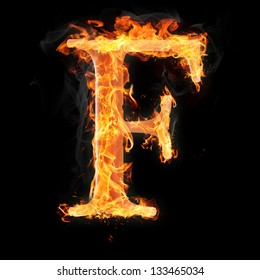 Letters and symbols in fire - Letter F.