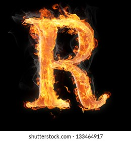 Letters and symbols in fire - Letter R.