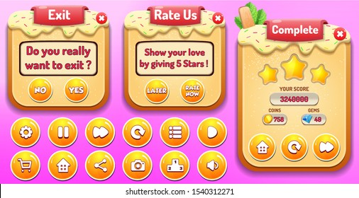 Level complete, Rate Us and Exit menu pop up with stars score and buttons GUI