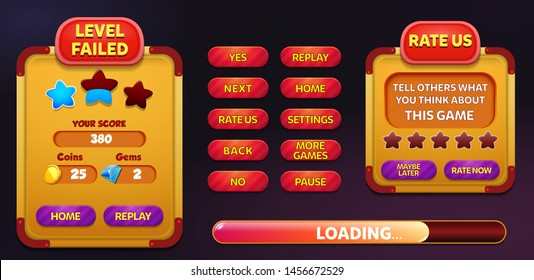 Level Failed and Rate US menu pop up screen with stars and button