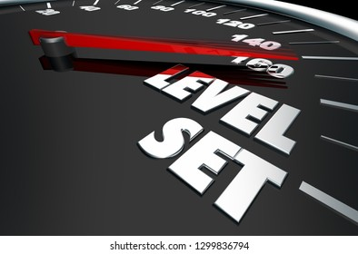 Level Set Expectations Planning Speedometer Words 3d Illustration