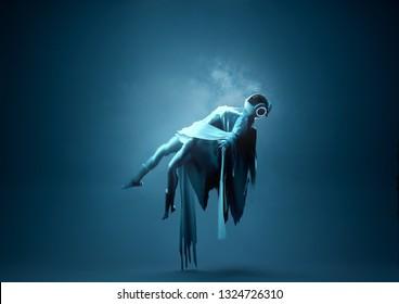Levitation Portrait. A futuristic Space Women Portrait Floating upwards towards a light. Conceptual people 3D illustration.