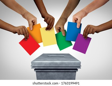 LGBT community vote and gay rights pride voting or sexuality diversity concept and diverse hands casting ballots at a polling station with 3D illustration elements.