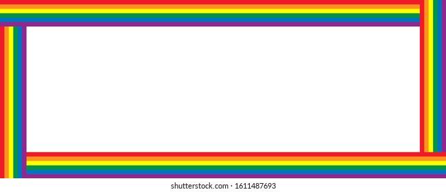 LGBT flag, Rainbow flag border frame design.