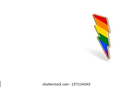LGBT lightning bolt rainbow pride symbol isolated on white background with copy space on the left side. Gay, Lesbian and sexual minority fight for their rights symbol concept. 3D rendering