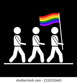 LGBT pride or gay parade flat  icon.