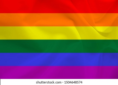 LGBT rainbow flag, Pride flag, Freedom flag - the international symbol of the lesbian, gay, bisexual and transgender community, the concept of the human rights movement