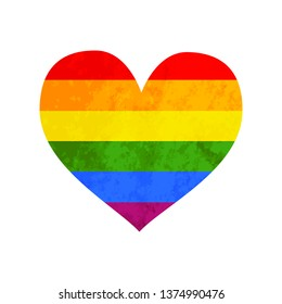 LGBT rainbow flag with texture in heart shape icon on white