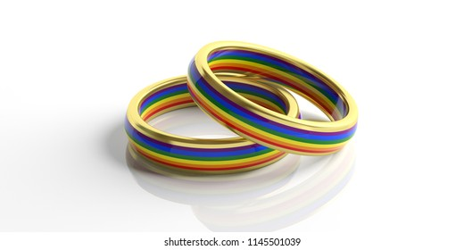 LGBT relationship. Pair of golden gay pride colors wedding rings isolated on white background, closeup view, 3d illustration