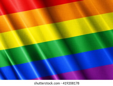 LGBT waving flag close