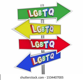 LGBTQ Lesbian Bisexual Gay Transgender Questioning Arrow Signs Groups 3d Illustration