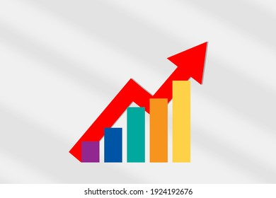 LGBTQ marketing communication concept and trading making money idea. Rainbow lgbt symbol growth graph with arrow upward on white background
