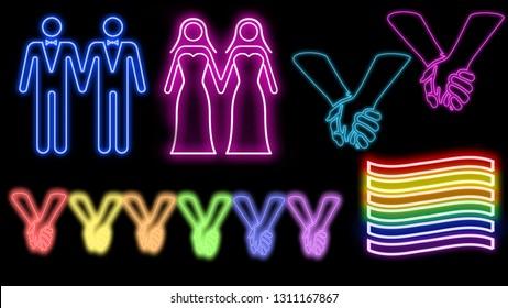LGBTQ symbols neon signs