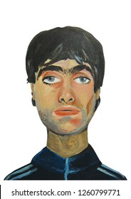 Liam Gallagher Oasis Band portrait illustration acrylic color painting on canvas