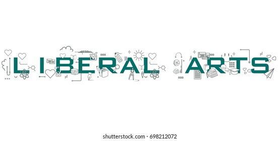 Liberal Arts word isolated on white background with icons representing education.