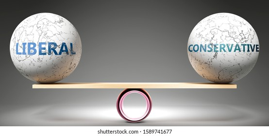 Liberal and conservative in balance - pictured as balanced balls on scale that symbolize harmony and equity between Liberal and conservative that is good and beneficial., 3d illustration