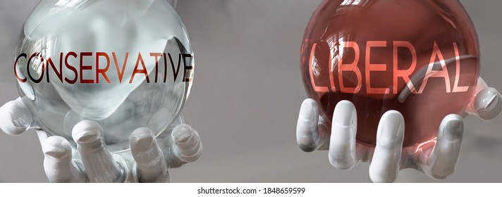 liberal and conservative in a balanced life - pictured as words liberal,conservative in hands to show that conservative and liberal should stay in balance, 3d illustration