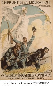 The Liberation Loan. Subscribe', reads a French WW1 poster of 1918. French and allied soldiers are in battle posture, below of a winged figure of Marianne pouring out money from a cornucopia. 1918.