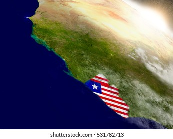 Liberia with embedded flag on planet surface during sunrise. 3D illustration with highly detailed realistic planet surface and visible city lights. Elements of this image furnished by NASA.