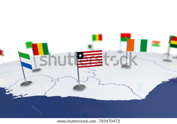 Liberia flag. Country flag with chrome flagpole on the world map with neighbors countries borders. 3d illustration rendering flag