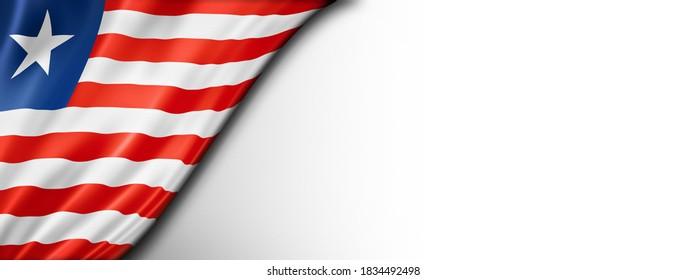 Liberia flag isolated on white. Horizontal panoramic banner. 3D illustration