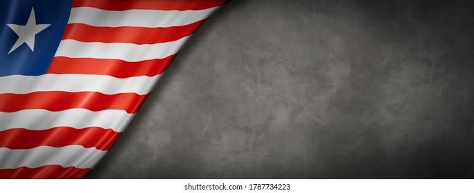 Liberia flag on concrete wall. Horizontal panoramic banner. 3D illustration