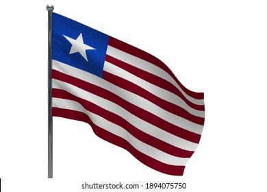Liberia flag on pole. Metal flagpole. National flag of Liberia 3D illustration isolated on white