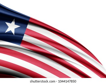 Liberia  flag of silk with copyspace for your text or images and white background-3D illustration