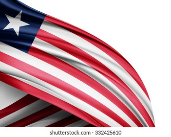 Liberia  flag of silk with copyspace for your text or images and white background
