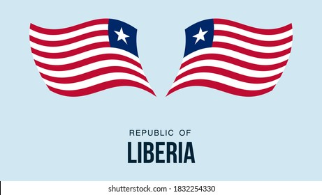 Liberia flag state symbol isolated on background national banner. Greeting card National Independence Day of the republic of Liberia. Illustration banner with realistic state flag.