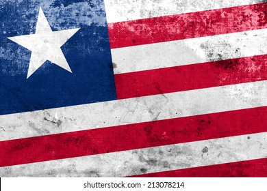 Liberia Flag with a vintage and old look