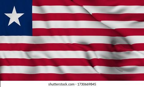 Liberia flag is waving 3D illustration animation. Liberia flag waving in the wind. National flag of Liberia.