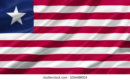 Liberia flag waving with the wind, 3D illustration.