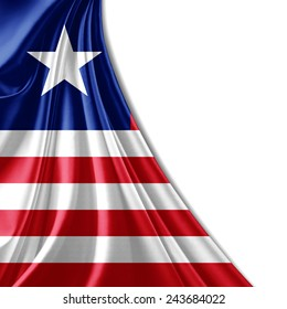 Liberia flag and white background